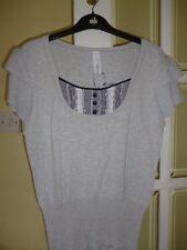 Zingara Knitted Cotton Top Bnwt Gris/Negro/Blanco Talla 16
