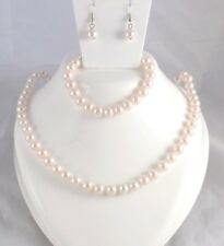 PALE PINK/FAWN FAUX PEARL NECKLACE  WITH  EARRINGS  AND BRACELET
