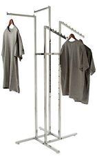 Clothing Rack 4 Way Slant Straight Arms Chrome Clothes Adjustable Garment Retail