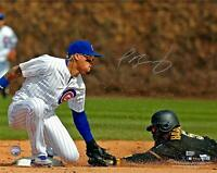 Javier Baez Cubs Signed 16x20 Tagging Out Runner Photo - Fanatics