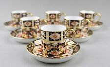 VINTAGE ROYAL CROWN DERBY IMARI 2451 COFFEE CANS CUPS & SAUCERS X 6 1ST C.1937