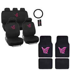 New Set Pink Butterfly Car Front Rear Seat Covers Steering Wheel Cover Floot Mat