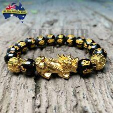 Black Obsidian Bracelet Alloy Feng Shui Attract Wealth Good Luck Jewellery Gift