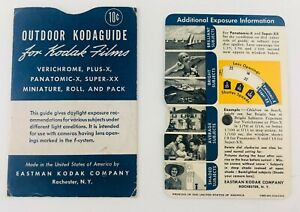 Vintage Kodak Camera Film Kodaguide Outdoor Daylight Exposure Wheel