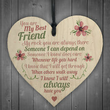 Best Friend Friends Plaque Wooden Heart Birthday Thank You Mum Daughter Nan Gift