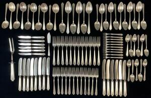94pc GORHAM & WHITING King Albert Sterling Silver Flatware Service for 6 +Extras