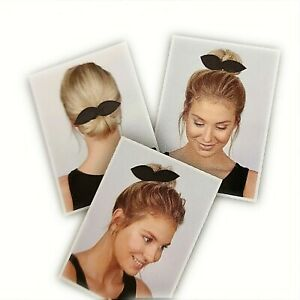 BLACK Bun Bow Maker Hair Clip Bowknot Ponytail Wrap Accessory Rabbit Ears NEW UK