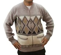 MENS GRANDAD GENTS ZIPPER ARGYLE KNIT DIAMOND DESIGN ZIP UP POCKET CARDIGAN NEW