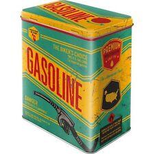 Vintage Style Retro Lidded Storage Tin - Garage Workshop Gasoline US Style
