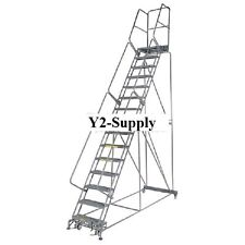 """NEW! Perforated 24""""W 15 Step Steel Rolling Ladder 21""""D Top Step!!"""