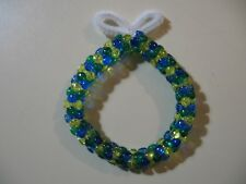 "3"" Wreath: Beaded Ornament (Blue, Yellow, Green colors) NEW handmade"
