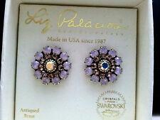New Liz Palacios Aurora Borealis & Clear Swarovski element Florette earrings