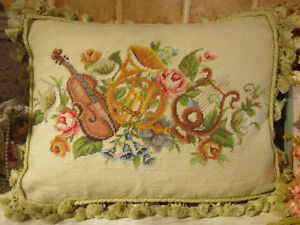 ROSE Violin Morning Glory Arts & Crafts Beautiful Needlepoint Throw Pillow