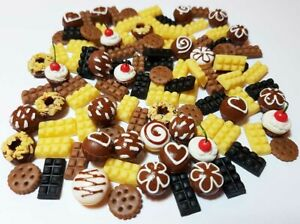 100-Piece Dollhouse Miniature Chocolate Food Set * Doll Mini Cupcake Donut Candy
