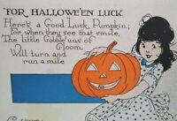 Vintage Halloween Postcard Good Luck Pumpkin Weaver Unused Series 2335 Original