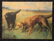 ORIGINAL Large Vintage 1930's Lithograph Print of Dogs Hunting