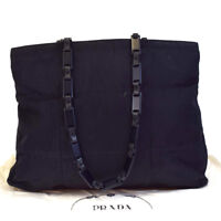Auth PRADA MILANO Logos Shoulder Tote Bag Leather Nylon Plastic Black 08EA939