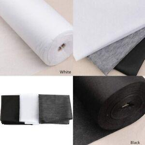 "Interfacing Buckram Fabric 40"" White MediumWeight NonWoven Fusible Iron On Metre"