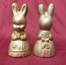 VTG Antique Cast Metal Iron CHOCOLATE Candy MOLD Cake Decor Rabbit w/Apron 6""