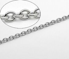 1m Chaine maille Forçat chainette Argenté 3 x 2mm maillon, creation bijoux