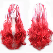Ombre Mix Red White Long Wave Hair Cosplay Wig Heat Resistant Full Women's Wigs
