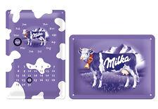 Milka Kuh Blechschild + Kalender Schild Set  je 20cm x 30cm geprägt 22201+22125