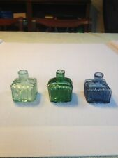 More details for collectable ink bottles three square ribbed inks