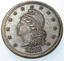 "1863 Civil War Token Fuld Cwt 28/303a Army & Navy ""E.S.� Scarce Coin"