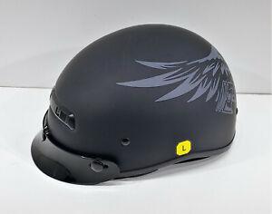 Zox Helmets Alto Custom Eagle Half Helmet Matte Black/Silver 88-20711 Sz Large