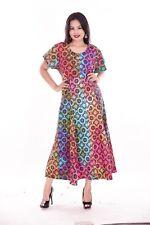 Indian 100% Cotton Women Fashion Long Dress Plus Size Floral Print Multi Color