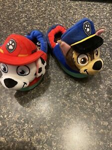 Nickelodeon Paw Patrol Plush Toddler Slippers Chase and Marshall Size 7-8