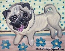 Flower Pug Art Print 5x7 Pop Folk Vintage Style Dog Collectible by Artist KSams