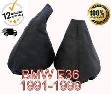 BMW E36 1991-1999 GENUINE LEATHER GEAR & HANDBRAKE GAITER COVER SET BLACK STITCH