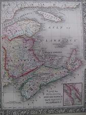 Orig Color Map 1860 Nova Scotia New Brunswick Cape Breton Pr Edward Halifax
