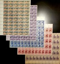 Mid-century Stamp Collecting Bundle: US, Full Sheets, $70.50 Retail Value, MNH