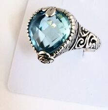 Sterling Silver Pear Shaped Cushion Cut Blue Topaz Filigree Size 9&1/4 Ring.