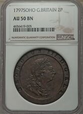 ENGLAND GEORGE III 1797-SOHO TWO PENCE COPPER COIN, CERTIFIED NGC AU-50-BN