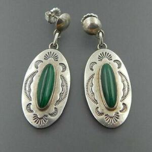 Vintage Boho 925 Silver Turquoise Hook Ear Dangle Earrings Women Wedding Jewelry