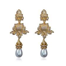 18k ORO PLACCATO CHIARO Bianco Micro Pave Luccicanti CZ Goccia Dangle Earrings gioielli