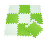 Tappeto puzzle schiuma morbido bambini 10 pz giocattoli lavabile bianco e verde