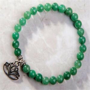 8MM Green jade Stone Gemstone Mala Bracelet 7.5 inches Beautiful Cultured