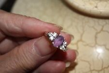 14Kt. White Gold Lady's Ring Diamonds and Amethyst