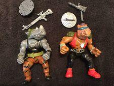 TMNT Teenage Mutant Ninja Turtles 1988 1989 Bebop & Rocksteady W/ Guns & Shields