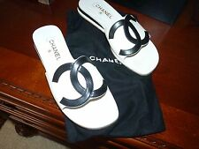 "CHANEL BLACK & WHITE ""CC"" MULE FLATS SIZE 39.5 = 8.5"