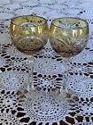 Amber Set 2 Cut To Clear Vintage Nachtmann Traub Bohemian Crystal Wine Goblet
