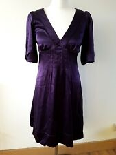 Warehouse 100% silk satin purple mini dress evening special occasion size 10 UK
