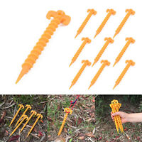 10 Pcs Hook Plastic Stakes Support Ground Nails Tent Pegs Screws Anchor Shelter