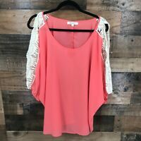 Umgee Women's Coral Lace Cold Shoulder Semi Sheer Blouse Size 1XL