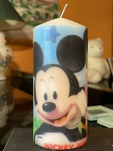 MICKEY MOUSE CLUB (Mickey,Minnie Mouse,Pluto)Hand Decorated PILLAR CANDLE 15x7cm