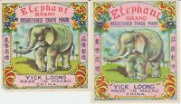 TWO Different Vintage Elephant Firecracker Pack Labels